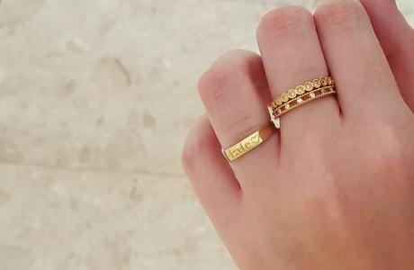 טבעת מלבן זהב