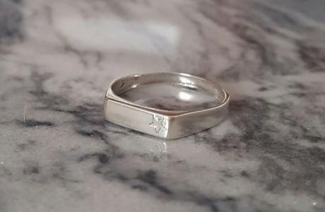 טבעת מלבן כסף