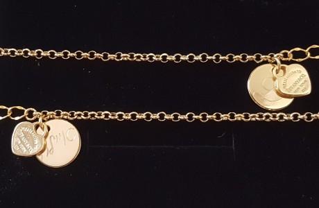 צמיד מטבע ולב טיפאני זהב