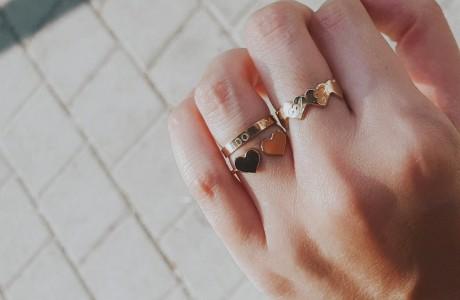 טבעת לבבות פתוחה