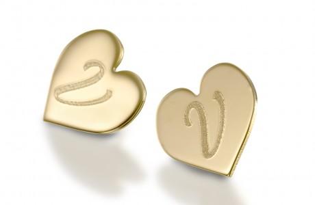 זוג עגילי פלטה לב